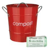 Red Kitchen Compost Caddy & 50x 6L All-Green Biobags - Composting Bin for Food Waste Recycling