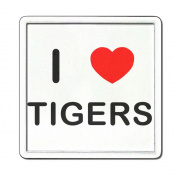I Love Heart Tigers - Clear Plastic Tea Coaster / Beer Mat