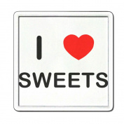 I Love Heart Sweets - Clear Plastic Tea Coaster / Beer Mat