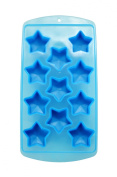 Star Shape Flexible 11 Ice Cube Tray Mould Blue Rubber Novelty Gag Gift