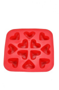 Heart Shape Flexible 12 Ice Cube Tray Mould Red Rubber Novelty Gag Gift