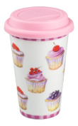 Beautiful Cupcakes Design Ladies Ceramic Double Walled Travel Mug with Silicone Lid