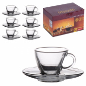 6 Matching Glass Espresso Coffee Cup & Saucers