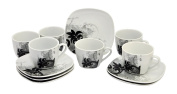 Van Well Black Flower Espresso Set - 6 Cups with 6 saucers - white Porcelain with black decor