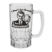 123t Mugs/Steins I DON'T GET DRUNK I GET AWESOME 470ml Clear Glass Beer Mug/Stein