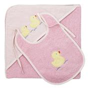 Harwoods Duck Bib & Cuddle Robe Hooded Baby Towel Set, Pink