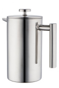 MIRA Stainless Steel French Press 3-cup (Coffee Maker Plunger, Press Pot, Best Tea Brewer, Quality Cafetiere) - Double Walled, Small 350ml
