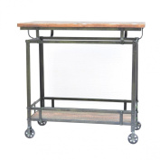 Crestview Collections Pressley Cart, Aged Wood and Metal