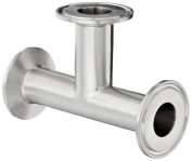 Dixon B7MP-G100 Stainless Steel 304 Sanitary Fitting, Clamp Tee, 2.5cm Tube OD