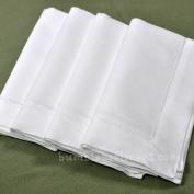 60cm X 60cm White Linen Hemstitched Dinner Napkins Set of 4 Linen Large Classic Hem Stitch Luxury Cloth Napkin