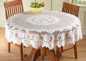 White Floral Lace Tablecloth Round 150cm Dia.
