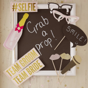 Ginger Ray Wedding Photo Booth Props with Gold Foil & Glitter - Vintage Affair