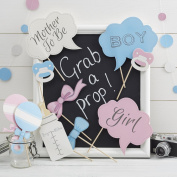 Ginger Ray Baby Shower / Gender Reveal Party Photo Booth Props - Little Lady or Mini Mister