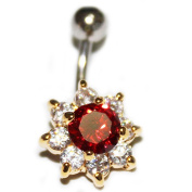 Thenice 14g 1.6mm Gold Flower Red Rock Curved Belly Button Navel Ring Piercing