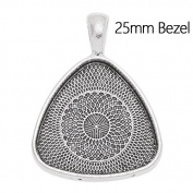 Antique Silver Plated Unique Pendant Trays with Blank Bezel fit 25mm Cabochon-20pcs/lot