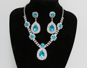 Elegant Royal Blue Necklace and Earring Rhinestone Jewellery Set