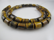"Tiger Eye Natural Gemstone Brown-yellow colour Heshi Rondelle Shape 8x10mm 40pcs 15.5""per Strand Jewellery Making Beads"