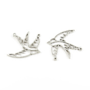 50 Pieces Wholesale Supplies Ancient Silver Fashion Jewellery Making Charms Findings W-13068 Hollow Swallow Pendant Craft DIY Vintage Alloys Necklace Bulk Supply Accessoires