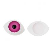 PEPPERLONELY Brand 100 PC Fuchsia Colour Flatback Plastic Toy Doll Making Craft Eyes Oval 5/8 x 3/8 Inch