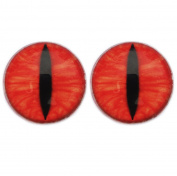 25 mm Glass Cabochon , Ruby Dragon Eyes ,1 pair for Prop Building , crafting , jewellery
