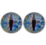 25 mm Glass Cabochon , Electric Blue Dragon Eyes ,1 pair for Prop Building , crafting , jewellery