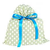 Green Geometric Reusable Fabric Gift Bag Medium 43cm by 48cm