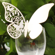 Pack of 50 White Butterfly Wedding Table Paper Place Card Escort Name Card Wine Glass Card for Wedding Party Decoration