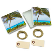 Island Beach Palm Tree Caribbean Vacation 2 White Gift Boxes Set of 2