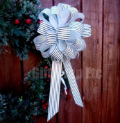 Black White Striped Christmas Gift Wrap Pull Bows with Tails - 20cm Wide, Set of 6, Wreath, Present, Basket Decor