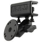 RAM Mount Glare Shield Clamp Mount w/Short Double Socket Arm & Round Base Adapter w/AMPs Hole Pattern