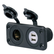 Marinco SeaLink® Deluxe Dual USB Charger & 12V Receptacle