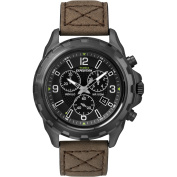 Timex Men's Expedition Rugged Chronograph Black Watch, Brown Leather Strap