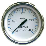 Faria Chesapeake White SS 10cm Tachometer - 4,000 RPM