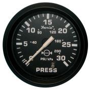 Faria Euro Black 5.1cm Water Pressure Gauge Kit - 30 PSI
