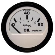 Faria Euro White 5.1cm Oil Pressure Gauge - 80PSI