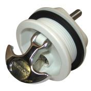 Whitecap T-Handle Latch - Chrome Plated Zamac/White Nylon - Locking - Freshwater Use Only