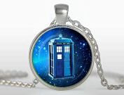 Doctor Who Pendant, Tardis Necklace, Silver Plated Pendant, Jewellery, Blue, Black