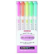 ZEBRA _ Zebra & gt; fluorescent pen aqueous pigment line marker MILD LINER _ mild liner & gt; 5 book set faint fluorescent colour WKT7-5C 02P01Oct16