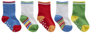 TICK TOCK Baby Boys Socks 5 Pairs Cotton Rich Heel and Toe Warm Stripes Grippers