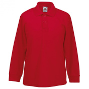 New Fruit of the Loom Childrens Kids Long Sleeve Polo Shirt