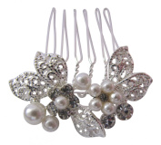 Pick A Gem Small Silver Diamante and Pearl Set Flower Hair Comb / Bridal Hair Accessories