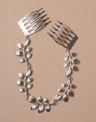 Allsorts® Boho Silver Hair Chain Leaf Design Hair Comb