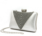 Luxurious Shimmering Women Diamante Ring Rhinestone Clutch Silver Wedding Purse Evening bag