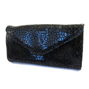 Leather pouch bag 'Frandi'black (2 bellows)leopard.