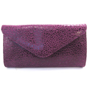 Leather pouch bag 'Frandi'purple (2 bellows)leopard.