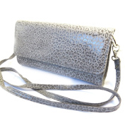 Leather pouch bag 'Frandi'graphite grey (2 bellows)leopard.