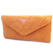 Leather pouch bag 'Frandi'orange (2 bellows)leopard.