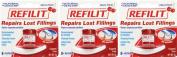 Dentemp Refilit Cherry Filling Material 8+ Repairs x 3 Packs