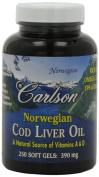 Carlson Labs, Norwegian Cod Liver Oil, 390 mg, 250 Soft Gels