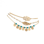 Lux Accessories Hamsa Evil Eye Leaf Feather Turquoise Bead BFF Best Friends Forever Anklet Set
